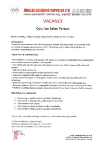 Counter Sales Person Wanted